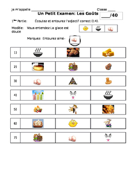 French Quiz on Food and Describing It