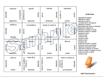 French RE Verb Infinitives 4 x 4 Matching Squares Puzzle