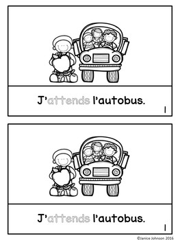 French RE Verb Reader & Build-A-Book ~ J'attends l'autobus ~ Les verbes RE
