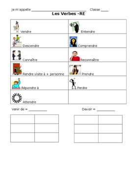French -RE Verb Vocabulary Notes