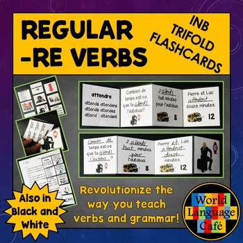 French RE Verbs Interactive Notebook Trifold Flashcards