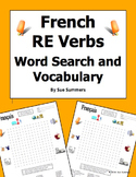French RE Verbs Word Search Puzzle, Image IDs, and Verb Lists