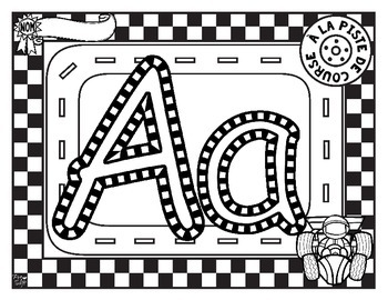 French Race Track Letter Tracing Printables