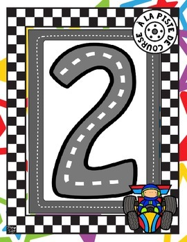 French Race Track Number Tracing Pages