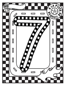 French Race Track Number Tracing Printables