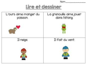 French - Reading Comprehension (Read & Draw) - La compréhension de la lecture