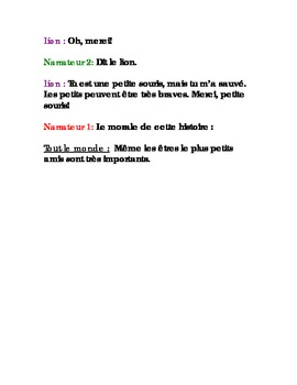French Readers Theatre Script- The Lion and the Mouse