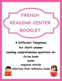 French Reading Center Booklet Template - J'aime la lecture