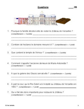 French Reading Comprehension Activity (Palace of Versailles)