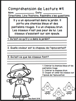 French Reading Comprehension- Halloween and Fall
