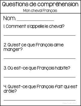 French Reading Comprehension Package - 5 mini books with response sheets