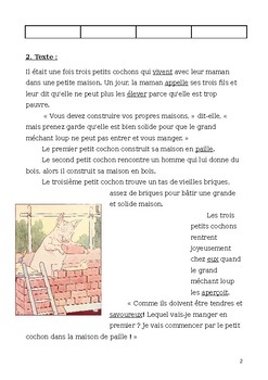 """French Reading Exercise: """"Les Trois Petits Cochons"""" with Comprehension Questions"""
