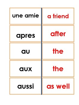 French Reading Flashcards  200+ Words  (Set 1)