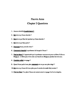 French Reading Pauvre Anne by Blaine Ray Comprehension Questions