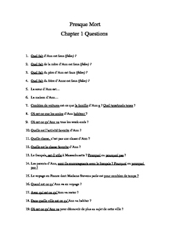 French Reading Presque Mort by Blaine Ray Comprehension Questions