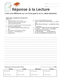 French Reading Response, with prompts
