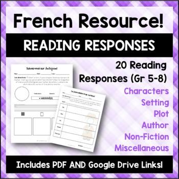 French Reading Responses/Réponses à lecture françaises - PDF and Google Docs
