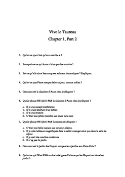 French Reading Vive le Taureau by Blaine Ray Comprehension Questions