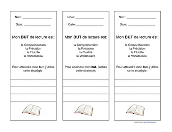 French Reading and Writing GOAL bookmarks