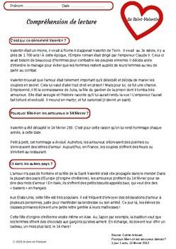 French Reading comprehension/Valentine's Day/Origine de la Saint-Valentin