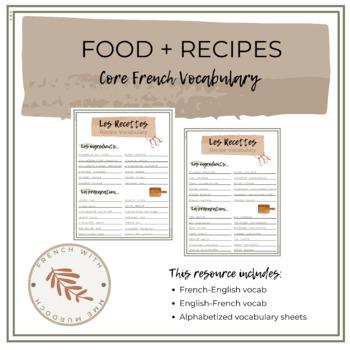 French Recipe Vocabulary (Vocabulaire de Recettes) // Food Unit