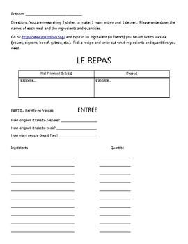 French Recipes Webquest