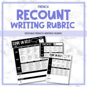 French Recount Writing Rubric - Rubrique de l'écriture (le récit)