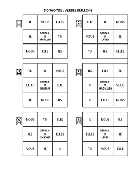 French Reflexive Verb - Tic Tac Toe