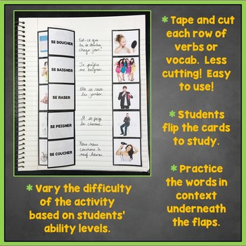 French Reflexive Verbs Flashcards, Interactive Notebook, Les Verbes réfléchis