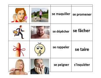 French Reflexive Verbs (Les verbes réfléchis) Memory Game