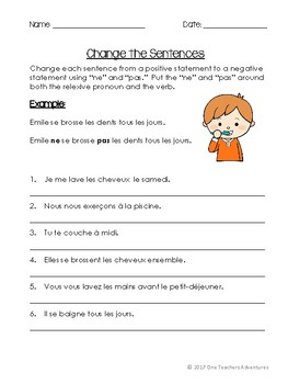 French Reflexive Verbs Notes and Activities