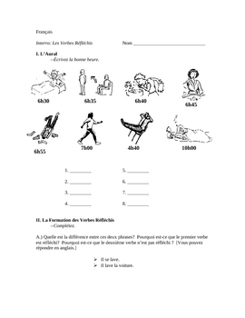 French Reflexive Verbs Quiz with listening Scrpit and Answer Key
