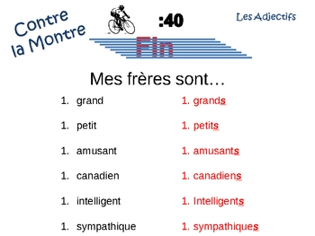 French Adjectives (regular) Writing Activity, Powerpoint