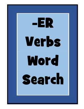 French Regular -ER Verbs Word Searches