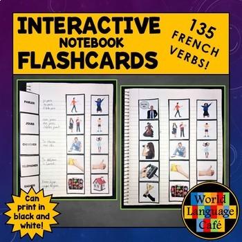 French Regular, Reflexive, Irregular Verbs Interactive Notebook Flashcards