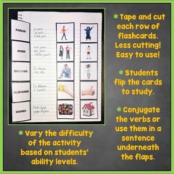 French Regular, Reflexive, Irregular Verbs Flashcards, Interactive Notebook