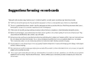 French Regular -RE Verb Manipulatives