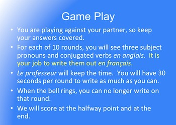 French Regular -RE Verbs : Verb Olympics Game