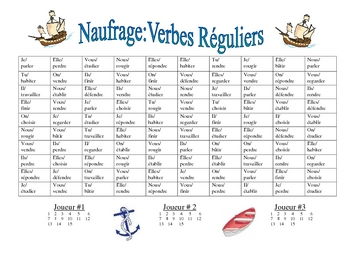 French Regular Verb Practice Activity (Shipwreck-Naufrage)