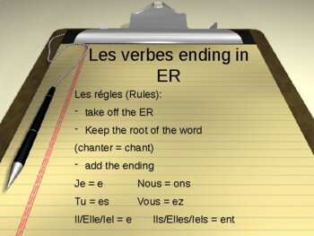 French Regular Verbs (ER, IR, RE) PowerPoint Lesson