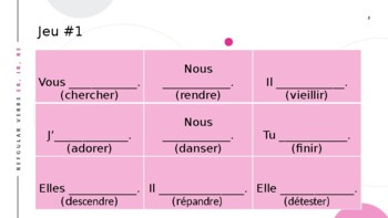 French Regular Verbs (ER, IR, RE) Tic Tac Toe
