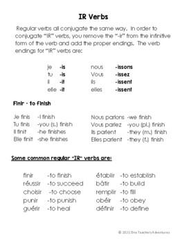 "French ""Regular Verbs"" Mini-Unit"