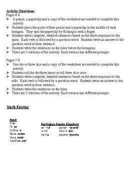 French Passé Composé Writing Activities; Regular Verbs (6 Versions)