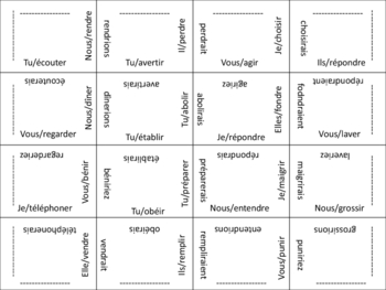 French Regular and Irregular Conditional Verb Form Puzzle Activity