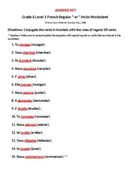 """French Regular """"-er"""" Verbs Student Worksheet"""
