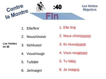 French Regular (er, ir, re) Verb Writing Activity, Powerpoint