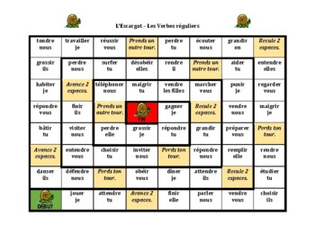 French Regular Verbs Escargot Snail Game