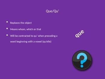 French Relative Pronouns Qui et Que
