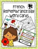 French Remembrance Day Word Cards  - Jour du Souvenir Cart