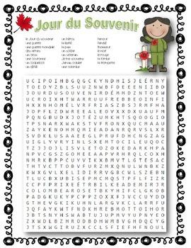 French Remembrance Day Word Search ~ Jour du Souvenir